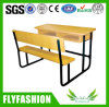 Wooden Double Attached School Desks and Chair School Furniture