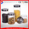 Grid Embossment Glass Jar Wholesale with Black Metal Lid