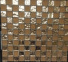 Matted Glass Mosaic and Gold Foil Glass Mosaic Tile