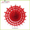 Red Honeycomb Snowflake Paper Fan