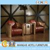 Hotel Public Lobby Metal Leather Living Room Chair