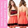 Orange Lace Bandeau Chiffon Skater Dress