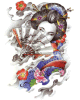 Beauty Geisha Girl Temporary Waterproof Tattoo Sticker Art Tattoo