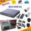 4 Channel Standalone DVR Kit with Sony 800tvl Camera