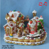 Gingerbread Christmas Decoration Cookie Scene with Revolving Ice Cream, Colorful Decorative with LED Light