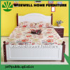Solid Pine Wood Bi-Color Double Bed Design Furniture (WJZ-B113)