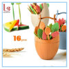 16PCS/Set Barrel Leaves Fruit Fork Cake Dessert Pick