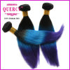 Very Soft and Thick 100% Virgin Human Hair Colored #1b/ Blue/Purple Hair Extensions