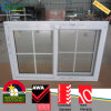White Color PVC Window with Grilles Design, Sliding Glass Window with Decorative Bars