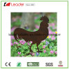 Metal Rooster Silhouette Garden Stake with Rusty Look for Yard and Outdoor Decoration
