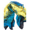 100% Chiffon Printed Silk Crinkle Shawl (AFS10000408)