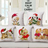 Merry Christmas Cotton Linen Printed Cushion Cover Without Stuffing (35C0175)