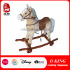 Kids Ride on Toy Wooden Base Rocking Horse Plush Toy