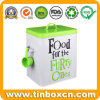 Rectangular Tin Metal Bucket with Spoon for Pet Food Packaging