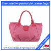 Designer Casual Canvas and Leather Shoulder Handbag Large Pink