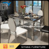 Chinese Furniture Stainless Steel Frame Black Marble Dining Table