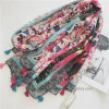 Colorful Retro Flourish Printed Polyester Women Scarf with Tassels (HP01)