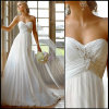 Elegant Sweetheart Chiffon Crystal Wedding Dress Beach Bridal Gown (W-05)