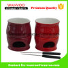 Red Ceramic Cheese Fondue Set with Forks