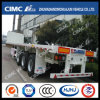 High Quality Cimc Huajun Flatbed Semi-Trailer with 1200mm Front Frame