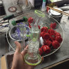 Glass Craft Ashtray Oil Rig DAB Color Glass Smoking Water Pipe