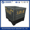 Foldable Plastic Pallet Box with 2 Drop Doors on Sides