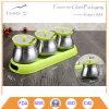 Set of 3 Stainless Steel 304 Spice Jars & Racks
