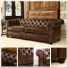 (SD-6008) Modern Chetersfield Wooden Leather Sofa for Living Room Hotel Furniture