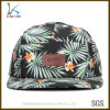 Wholesale Printing Floral Leather Patch 5 Panel Snapback Cap