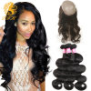 Pre Plucked 360 Lace Frontal with Bundles Brazilian Body Wave Virgin Hair 4PCS Lot Human Hair Wefts 360 Lace Band with Baby Hair