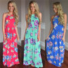 Hot Sale Ladies Printed Flowers Long Dresses (17014)