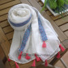 Top Quality Plain Color Cotton Lady Scarf with Lace (HWBC31)