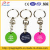 Three Color Metal Trolley Token with Key Ring Coin Holder