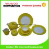 Yellow Ceramic Dinnerware Set with Cup Saucer and Milk Pot