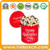 Large Custom Chocolate Popcorn Tin with Handle for Valentines Gifts