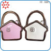 Pink and White Enamel House Shaped Zinc Alloy Bag Hanger