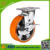 Side Brake PU Trolley Castor Wheel