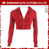 Wholesale High Quality Custom Red Crop Hoodies Women Zipper (ELTCHI-7)