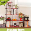Living Room Balcony Wire Grid Storage Shelves Metal Rack