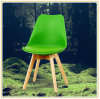 Chairs with Green PU Cover and Original Wooden Legs