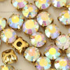 Clear Crystal Ab Sew on Rhinestone in Gold Plating