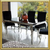Modern French Home Dining Room Furniture / Tempered Glass Stainless Steel Chrome Silver Louis Dining Table with Velvet Fabric Dining Chairs