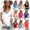 2017 Sexy Short Sleeved Plain V-Neck Fashion Women T-Shirt Factory