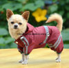 Outdoor Polyester Puppy Waterproof Glisten Four-Leg Raincoat Doggie Hooded Lined Rain Gear Jumpsuit for Teddy, Pug, Chihuahua, Shih Tzu, Yorkshire Terriers