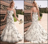 Gorgeous Embroidery Bridal Gowns Mermaid Tulle Evening Wedding Dresses Nh84