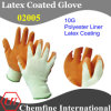 10g Yellow Polyester/Cotton Knitted Glove with Orange Latex Wrinkle Coating