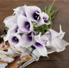 Simulation Artificial Wedding Decoration Flower PU Mini Calla Lilies Silk Rose Petals Bridal Home DIY Flower