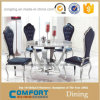 Double Glass Stainless Steel Feet Dining Room Furniture