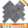 Rectangle and Square Shape Mixed Grey Color Granite and Glass Mosaic (M855171)