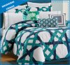 Green and Navy Stripe Design Microfiber Comforter Bedding